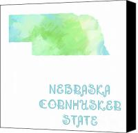 Maps Canvas Prints - Nebraska - Cornhusker State - Map - State Phrase - Geology Canvas Print by Andee Photography