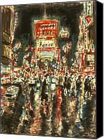 Nyc Drawings Canvas Prints - New York Broadway Canvas Print by Peter Art Prints Posters Gallery