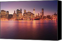 City Canvas Prints - New York City Skyline - Night Lights Canvas Print by Vivienne Gucwa