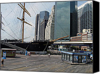 Photo Photo Special Promotions - New York Harbor - Revisited - Digital Painting Effect Canvas Print by Rhonda Barrett