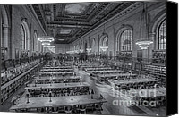 White Rose Canvas Prints - New York Public Library Rose Room bw Canvas Print by Susan Candelario