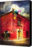 Corner Cafe Canvas Prints - Night Falls on Oaxaca Canvas Print by Mark E Tisdale