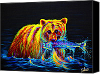 Modern Painting Special Promotions - Night of the Grizzly Canvas Print by Teshia Art