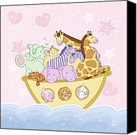 Featured Drawings Canvas Prints - Noahs Ark pink Canvas Print by Amanda Francey