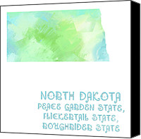 Abstract Map Mixed Media Canvas Prints - North Dakota - Peace Garden State - Flickertail State -  Roughrider - Map - State Phrase - Geology Canvas Print by Andee Photography