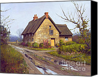 Overcast Painting Canvas Prints - November Cottage Canvas Print by Michael Swanson