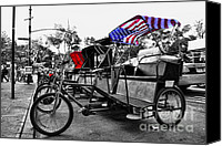 Lined Up Canvas Prints - NYC Pedicabs Canvas Print by Paul Ward