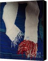Featured Tapestries - Textiles Canvas Prints - Off white with a red fringe Canvas Print by Gay Taweel