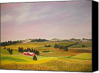 Featured Pastels Canvas Prints - Ohio Amish Farm Canvas Print by Dan Haley
