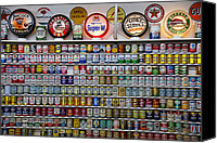 Signage Photo Canvas Prints - Oil cans and gas signs Canvas Print by Garry Gay