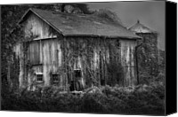 White Barns Canvas Prints - Old Barn Canvas Print by Bill  Wakeley
