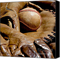Baseball Mitt Canvas Prints - Old Baseball Ball and Gloves Canvas Print by Art Blocks