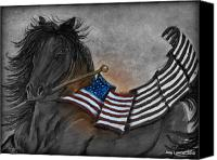 Army Pastels Canvas Prints - Old Glory Black and White Canvas Print by Julie Lowden