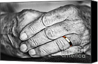 Fingers Photo Canvas Prints - Old hands with wedding band Canvas Print by Elena Elisseeva