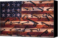 Steal Canvas Prints - Old keys on American flag Canvas Print by Garry Gay