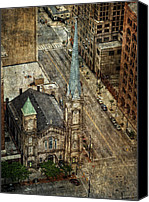 Public Square Canvas Prints - Old Stone Church Canvas Print by Dale Kincaid