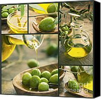 Glass Oil Dish Canvas Prints - Olive oil collage Canvas Print by Nikolina Petolas