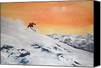 Slopes Painting Canvas Prints - On the Slopes Canvas Print by Jean Walker