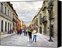 Mark Tisdale Canvas Prints - One Afternoon on The Historic Streets of Oaxaca Canvas Print by Mark E Tisdale