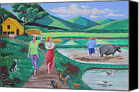 Animal Painting Special Promotions - One Beautiful Morning in the Farm Canvas Print by Cyril and Lorna Maza