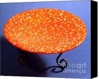 Featured Glass Art Canvas Prints - Orange Yellow and White Murrini Bowl with Stand Canvas Print by P Russell