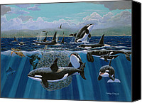 Whale Painting Canvas Prints - Orca Play Canvas Print by Carey Chen