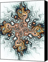 Cool Abstract Mixed Media Canvas Prints - Ornate Cross Canvas Print by Anastasiya Malakhova