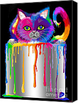 Nick Gustafson Canvas Prints - Paint Can Cat Canvas Print by Nick Gustafson