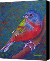 Bunting Painting Canvas Prints - Painted Bunting Canvas Print by Denise Wagner