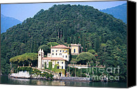 Lago Di Como Canvas Prints - Palace at Lake Como Italy Canvas Print by Greta Corens