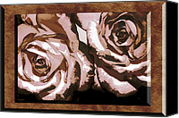 Phyllis Denton Canvas Prints - Parchment Roses Canvas Print by Phyllis Denton