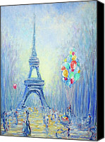 Frederick Luff Canvas Prints - Paris Blue Canvas Print by Luff  Gallery