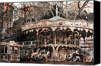 Carrousel Art Canvas Prints - Paris Dreamy Sepia Carousel Montmartre District Canvas Print by Kathy Fornal