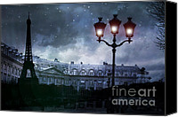 Shopping Canvas Prints - Paris Eiffel Tower Starry Night Street Lamp Fantasy Photo Montage Canvas Print by Kathy Fornal