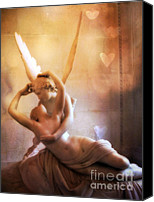 Angel Photographs Photo Canvas Prints - Paris Eros and Psyche Louvre Museum- Musee du Louvre Angel Sculpture Canvas Print by Kathy Fornal