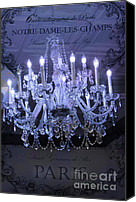 Chandelier Canvas Prints - Paris In Blue Posh Sparkling Chandelier Art  Canvas Print by Kathy Fornal