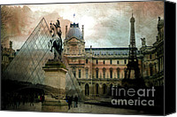 The Louvre Museum Canvas Prints - Paris Louvre Museum Pyramid - Eiffel Tower Photo Montage Canvas Print by Kathy Fornal