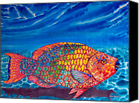 Fiber Art Tapestries - Textiles Canvas Prints - Parrot Fish Canvas Print by Daniel Jean-Baptiste