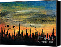 Sundown Pastels Canvas Prints - Past the Black Spruce Canvas Print by R Kyllo