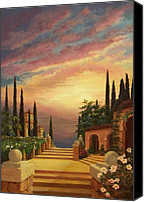Stucco Canvas Prints - Patio il Tramonto or Patio at Sunset Canvas Print by Evie Cook
