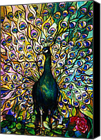 Coloured Glass Glass Art Canvas Prints - Peacock Canvas Print by American School