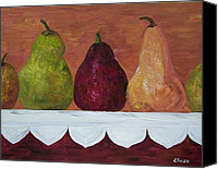 Red Apple Canvas Prints - Pear Parade - Pears on an Antique Cloth  Canvas Print by Eloise Schneider
