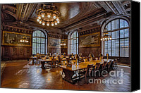 Literature Canvas Prints - Periodical Room At The New York Public Library Canvas Print by Susan Candelario