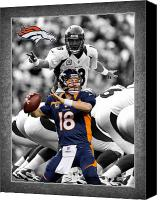 Sports Photo Special Promotions - Peyton Manning Broncos Canvas Print by Joe Hamilton
