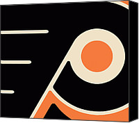 Hockey Painting Canvas Prints - Philadelphia Flyers Canvas Print by Tony Rubino