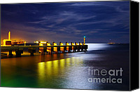 Industrial Ship Canvas Prints - Pier at Night Canvas Print by Carlos Caetano