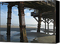 Beach Scenes Digital Art Canvas Prints - Pier Pressure Canvas Print by Brian Johnson