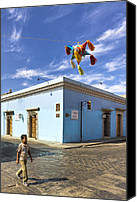 Mark Tisdale Canvas Prints - Pinatas Over The Streets of Mexico Canvas Print by Mark E Tisdale