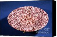 Featured Glass Art Canvas Prints - Pink Murrini Bowl with Stand View A Canvas Print by P Russell
