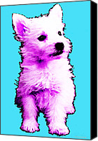 Westies Canvas Prints - Pink Westie - West Highland Terrier Art by Sharon Cummings Canvas Print by Sharon Cummings